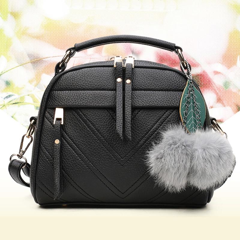Exquisite Plush Accessories Women's Shoulder Messenger Bags PU Leather Fashion Shopper Crossbody Bag