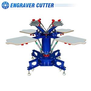 4 Color 4 Station Floor Type Micro-registration Double Wheel Overprinting Screen Printing Press