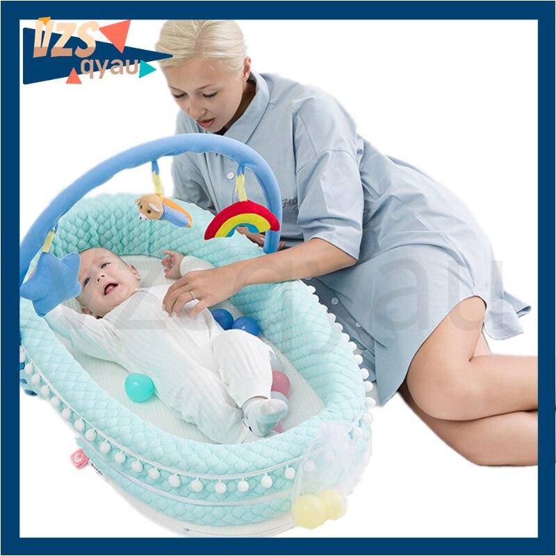 سرير سفر محمول سرير طفل رضيع القطن مهد لحديثي الولادة سرير بيبي الوفير جديد لينة عش الطفل السرير مع وسادة
