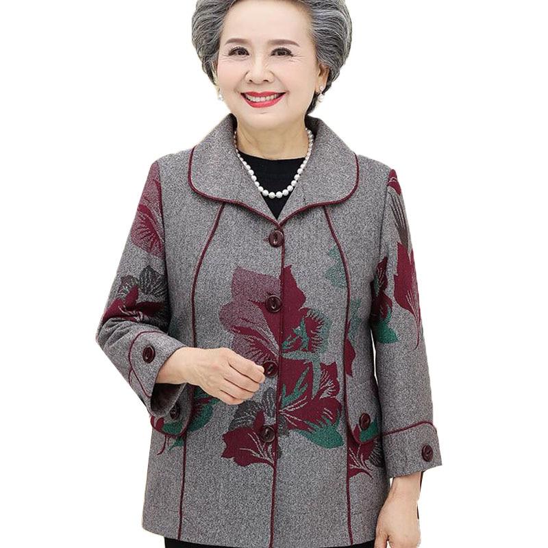 Пальто и куртка для женщин среднего и пожилого возраста Новинка весны 2020 Женская Верхняя одежда куртка с длинным рукавом размера плюс 5XL оде...