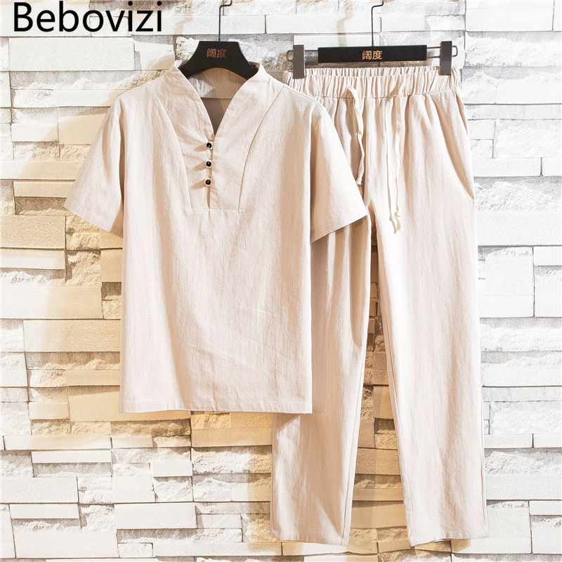 Hanfu Sets Kung Fu Chinese Style Suit Black White Summer Cotton Linen Men Casual Traditional Tang Tops + Pants Clothes недорого