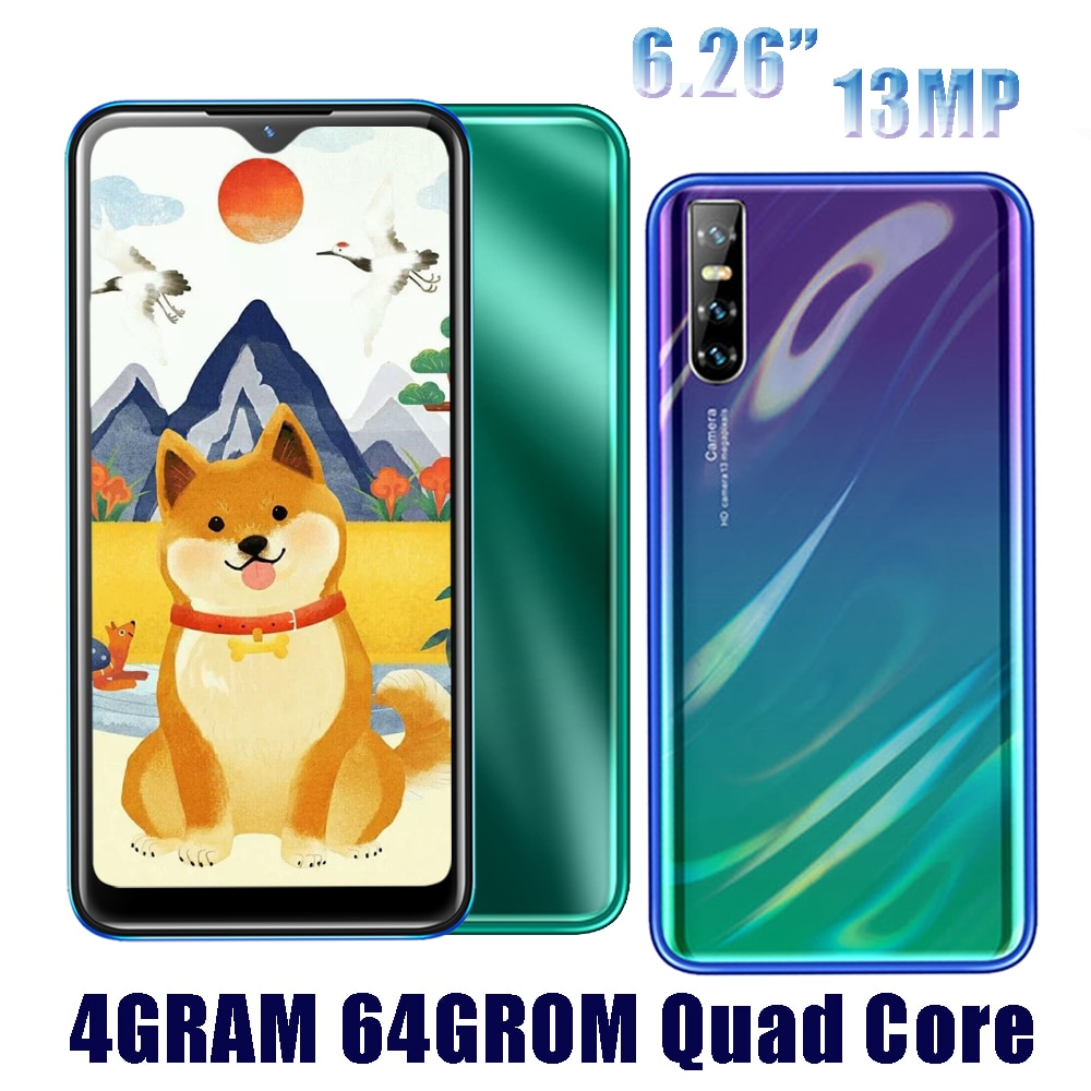 M11 4G RAM Android Smart handys 64G ROM Quad Core 13MP HD Gesicht ID 6,26 zoll Wasser Tropfen bildschirm entsperrt celulars 2Sim Handy