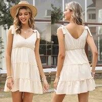women v neck suspender casual dress 2021 summer female new style cotton linen loose short solid color bow knot vest dresses