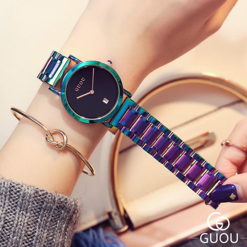 Colorful Alloy Watchband Watch Women Unique Fashion Ribbon Steel Simple Ladies Watch Luxury Brand Designer Relogio Feminino enlarge
