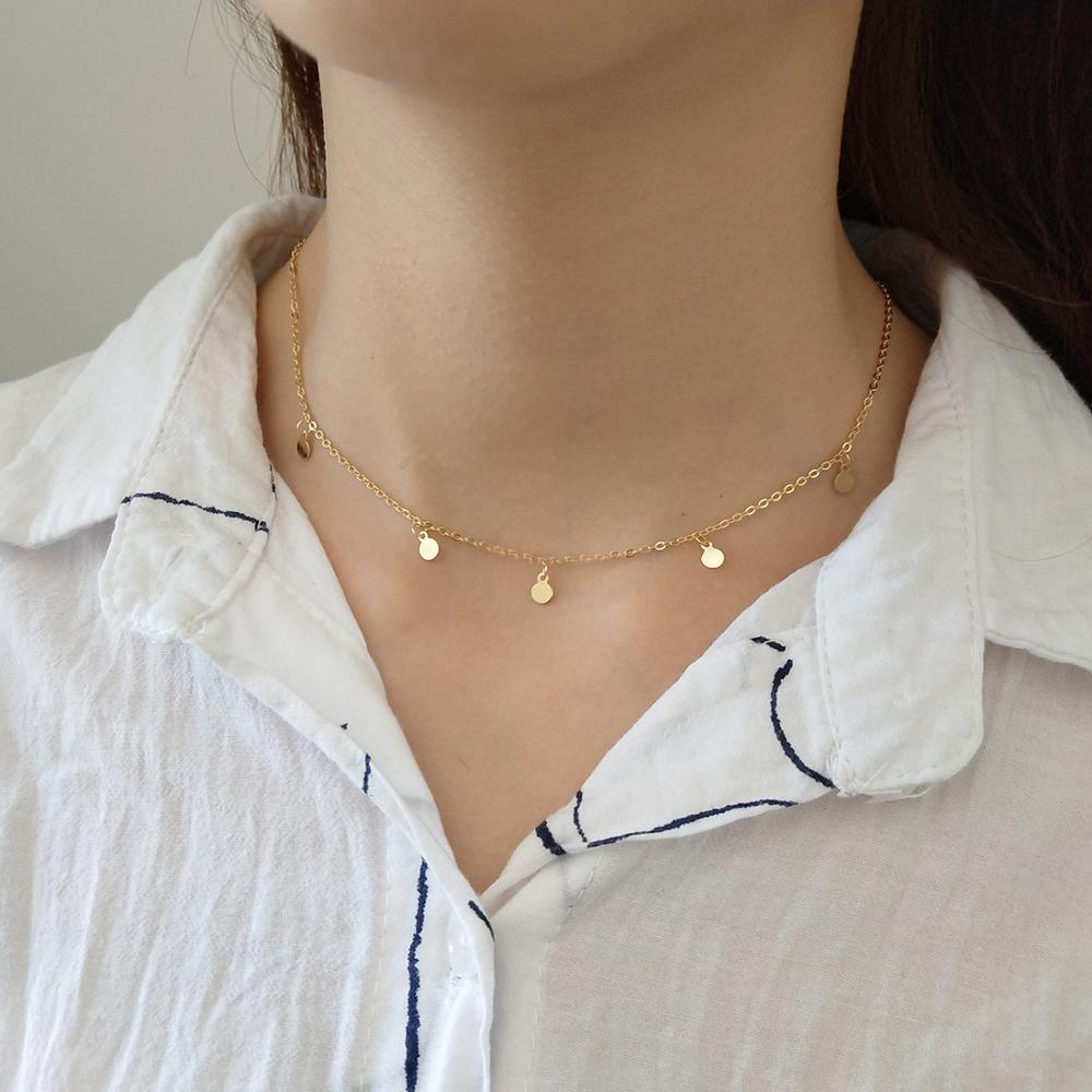 Collar de Gargantilla redonda de Plata de Ley 925 geométrica para mujer a la moda, joyería fina minimalista, accesorios bonitos dz504 2020