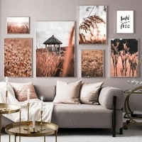 thatched pavilion grass sunset landscape wall art canvas painting nordic posters and prints wall pictures for living room decor