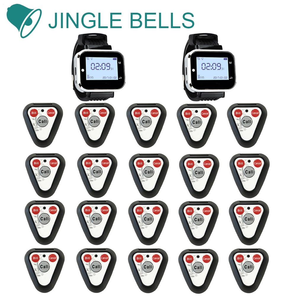 JINGLE BELLS wireless calling system 20 call button 2 watch pager for restaurant equipment wireless paging system watch receiver