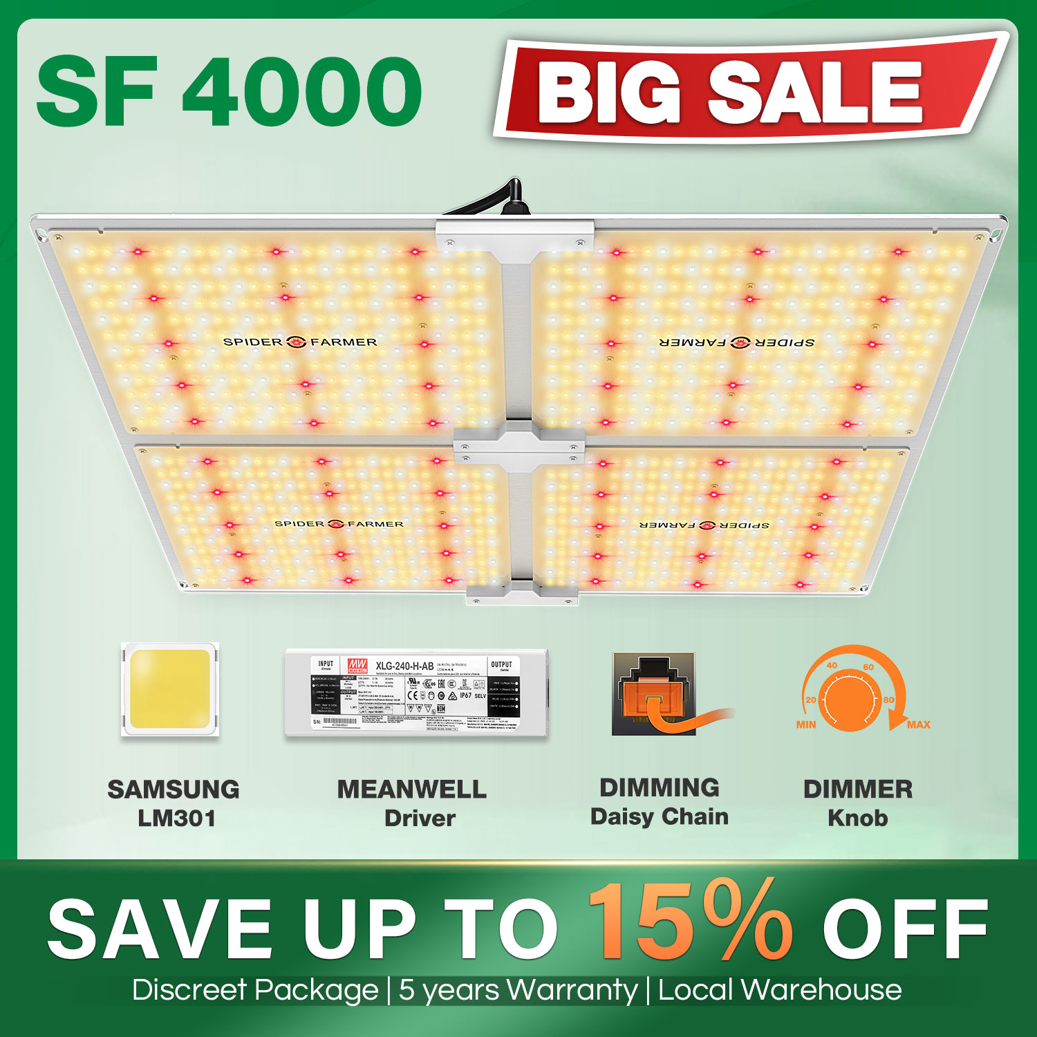 Spider Farmer SF 4000W LED Grow Light 450W Samsung Led LM301B Dimmable Phytolamp Full Spectrum Quantum Board for Indoor Plant