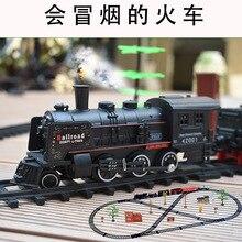 Duman elektrikli parça klasik Model oyuncak yüksek hızlı demiryolu oyuncak tren Retro buharlı tren erkek çocuk oyuncakları eğlenceli oyun kapalı çocuk oyuncaklar