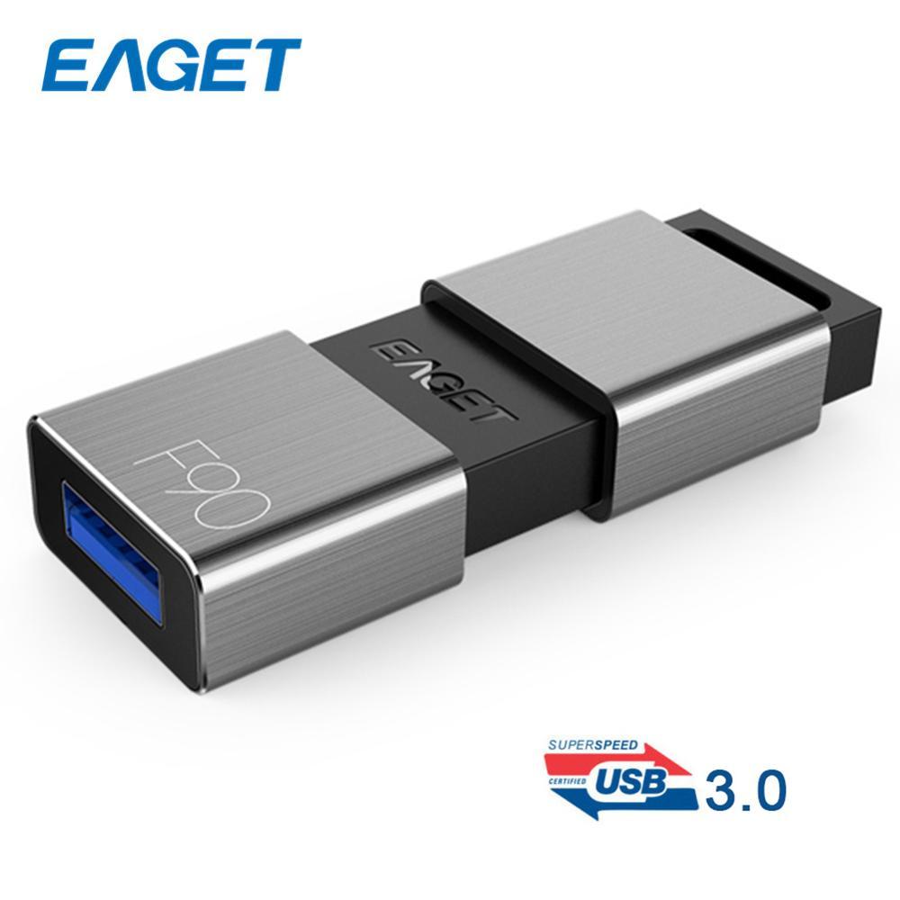 EAGET F90 16 GB/32 GB/64 GB/128 GB/256GB Metal de negocios portátil USB 3,0 U disco de memoria Flash Dispositivo de almacenamiento de datos pendrive Hot