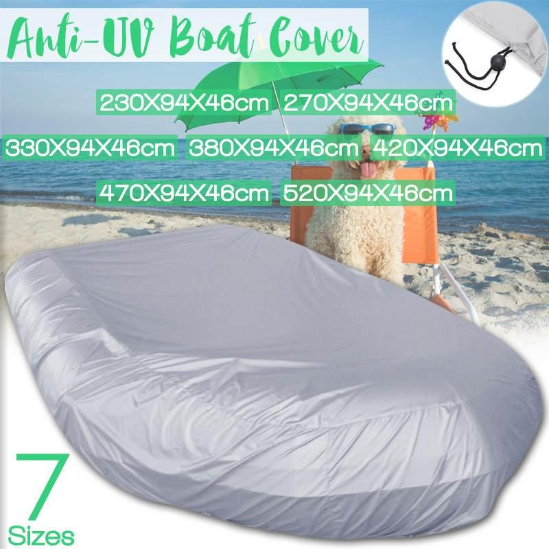 Cubierta de barco resistente de 7 tamaños impermeable Oxford tela Anti UV sol polvo bote inflable bote de pesca bote de goma Kayak