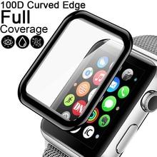 100D kavisli temperli cam Apple Watch serisi için 5 4 2 3 1 HD ekran koruyucu film için iWatch 38mm 40mm 42mm 44mm tam tutkal