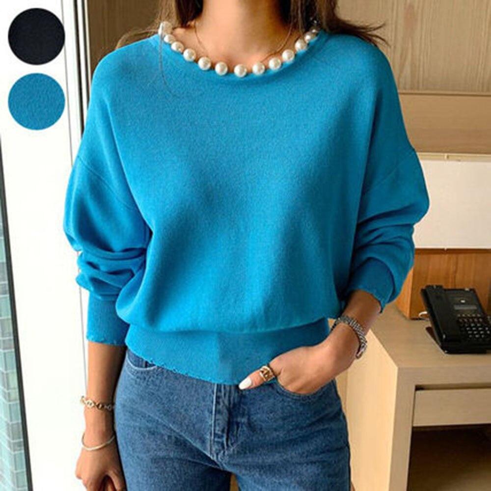 2020 المرأة متماسكة قميص المرأة تي شيرت الخريف والشتاء بأكمام طويلة بلون داخل المرأة فضفاضة عادية