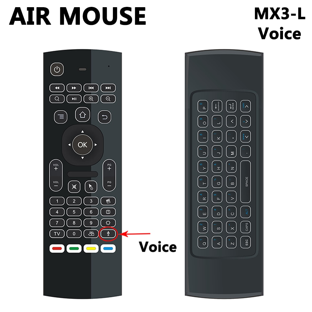 Mx3-جيروسكوب بإضاءة خلفية مع لوحة مفاتيح لاسلكية ذكية للتحكم الصوتي عن بعد ، 2.4G RF لـ xiaomi mi box 3 htv box 5 Samsung LG TV