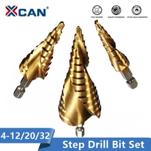 Xcan 3pcs 4-12/20/32mm HSS Spiral Grooved Center Drill Bit Solid Carbide Mini Drill Accessories Titanium Step Cone Drill Bit