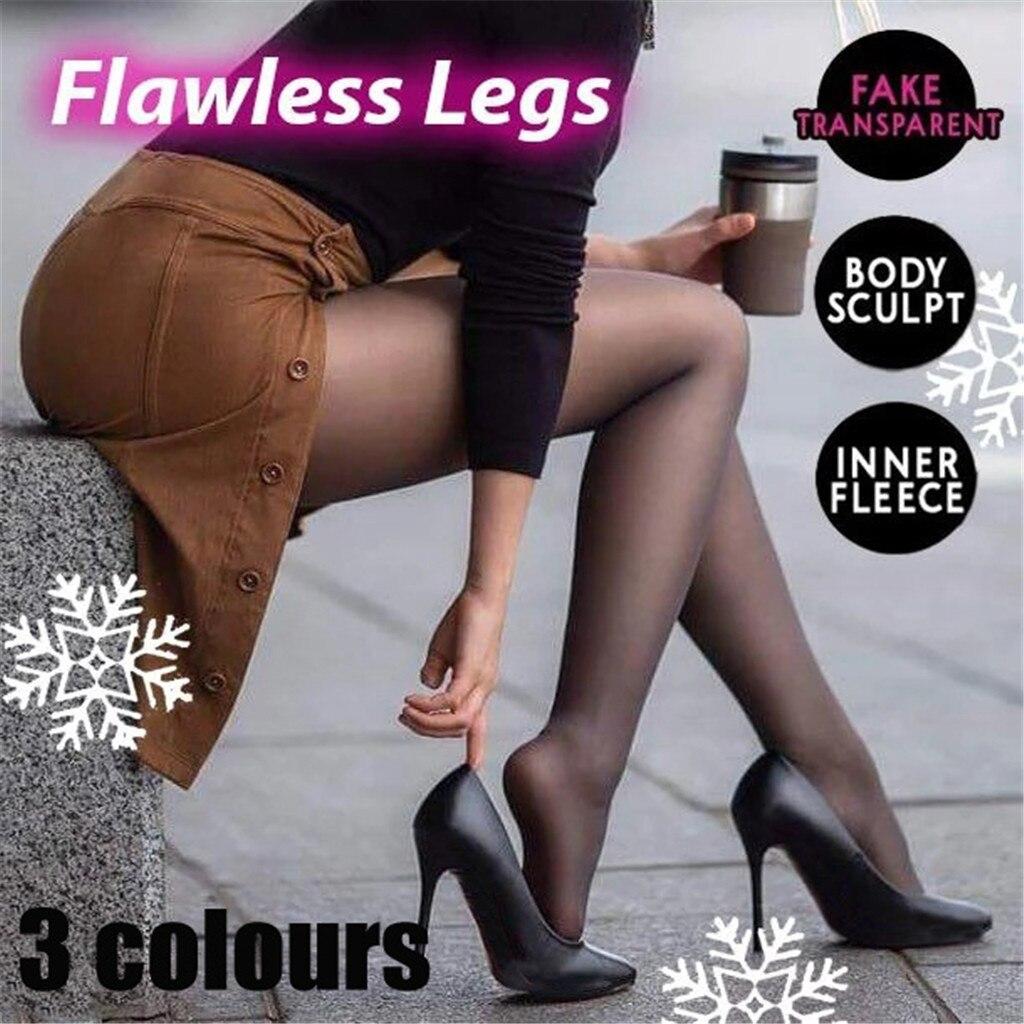 Pantimedias negras para mujer invierno falso translúcido cálido piernas impecable polar gris/café Origina ropa mujer