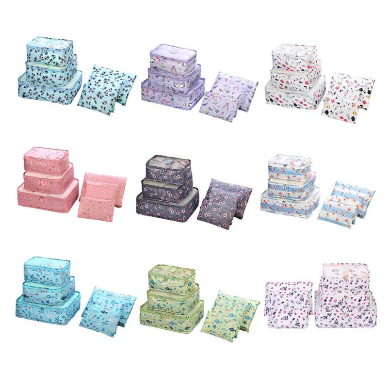 6P/ Fashion Oxford Cloth Travel Mesh Bag In Bag High Quality Luggage Organizer Packing Cube Organiser for Clothing