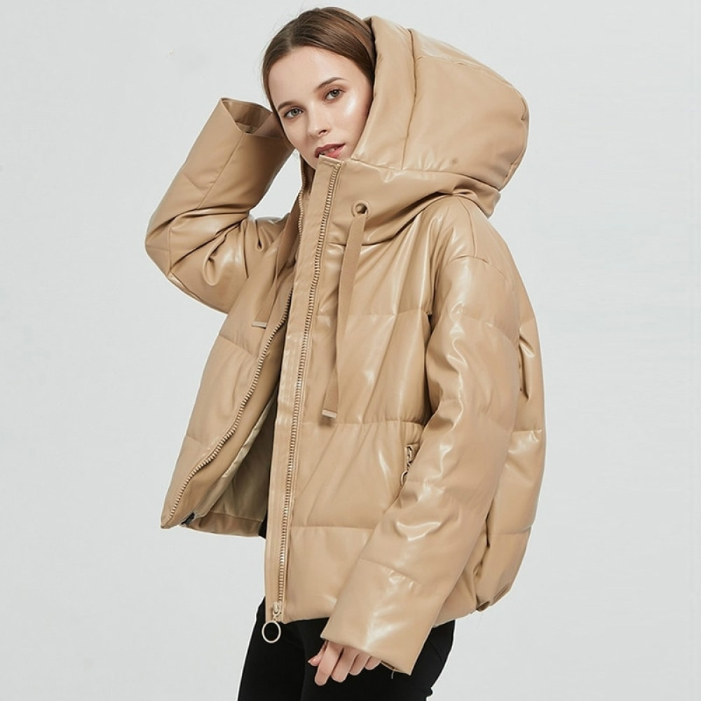 Women Thick Warm PU Faux Leather Padded Coat 2021 Winter Zipper Hooded Jacket Parka Long Sleeve Pockets Outerwear Tops