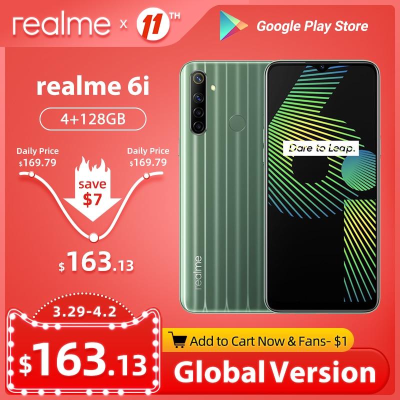 Realme 6i 6 i глобальная Версия Мобильный телефон 4 Гб RAM 128 ГБ ROM EU Plug MTK Helio G80 5000 мАч Dewdrop display 6,5