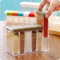 6pcsset spice shaker seasoning bottle jar condiment storage container with tray clear seasoning spice pots kitchen accessories