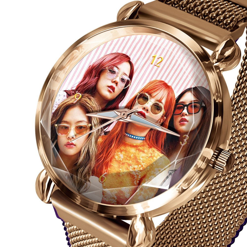Super Star reloj para mujer, cartel rosa, personalizado, Fan relojes de pulsera, LOGO Diy, pulsera de oro para mujer, insignia de grupo de reloj OEM D3657