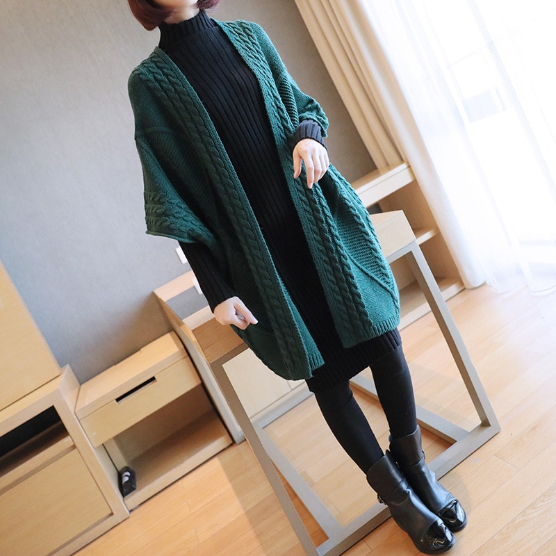 Maternity Sweater Thick Pregnant Knitted Cardigan Medium Long Sweater Coat Women's Autumn Sweater Coat Pregnent Outwear enlarge
