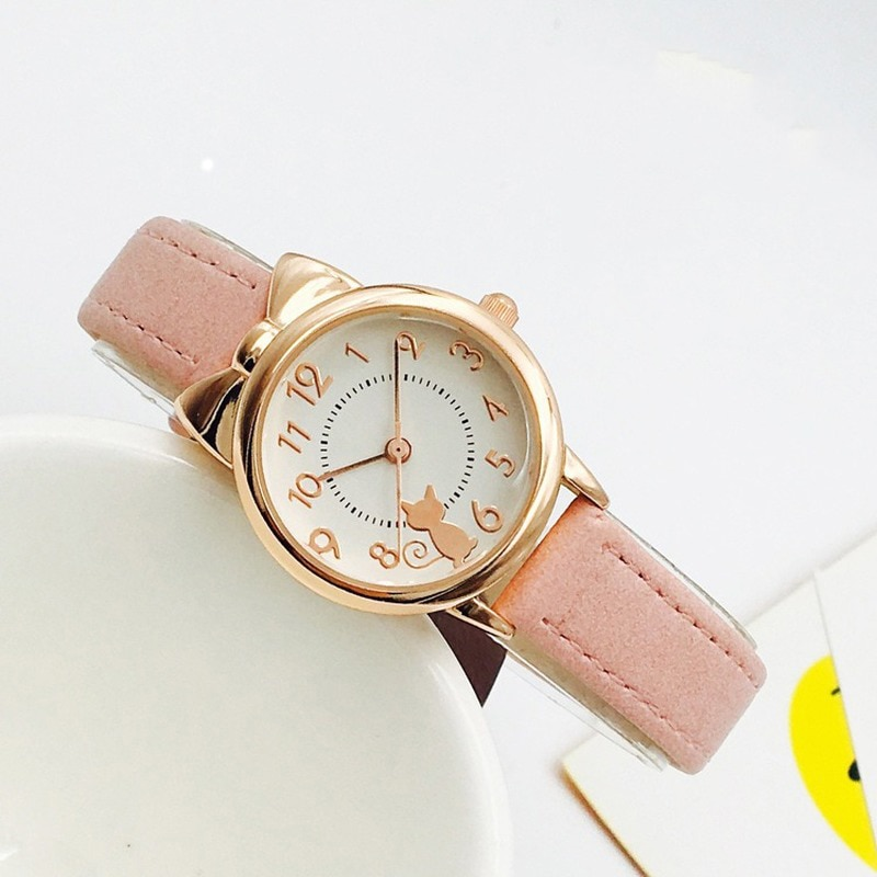 Cute Casual Girl Watch Kids Cute Leather Strap Cat Watches Waterproof Lovely Kid Children Quartz Student Wristwatch High Quality disney mario cute children s cartoon quartz watch student casual belt watch kids watches watches gift for kids girl
