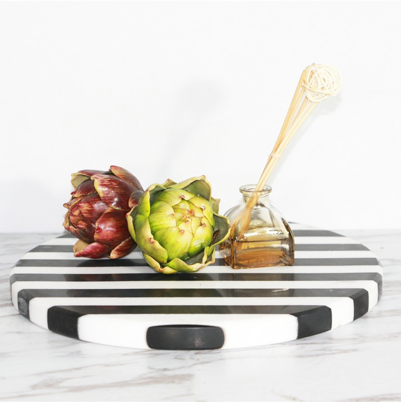 Black and White Natural Marble Round Tray Decorated With Wine Utensils Tray,Rectangular Marble Tray Plate