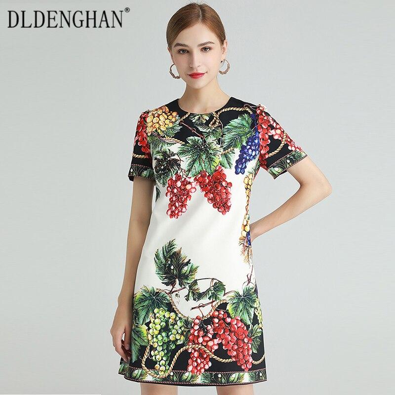 DLDENGHAN موضة العنب طباعة فستان المرأة قصيرة الأكمام الديكور فساتين مصمم ربيع جديد
