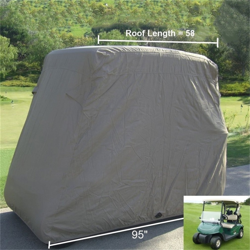 Waterproof 2 Passengers Car Detector Golf Cart Protect Cover UV Resistant For Two Passenger Car Club Car Khaki