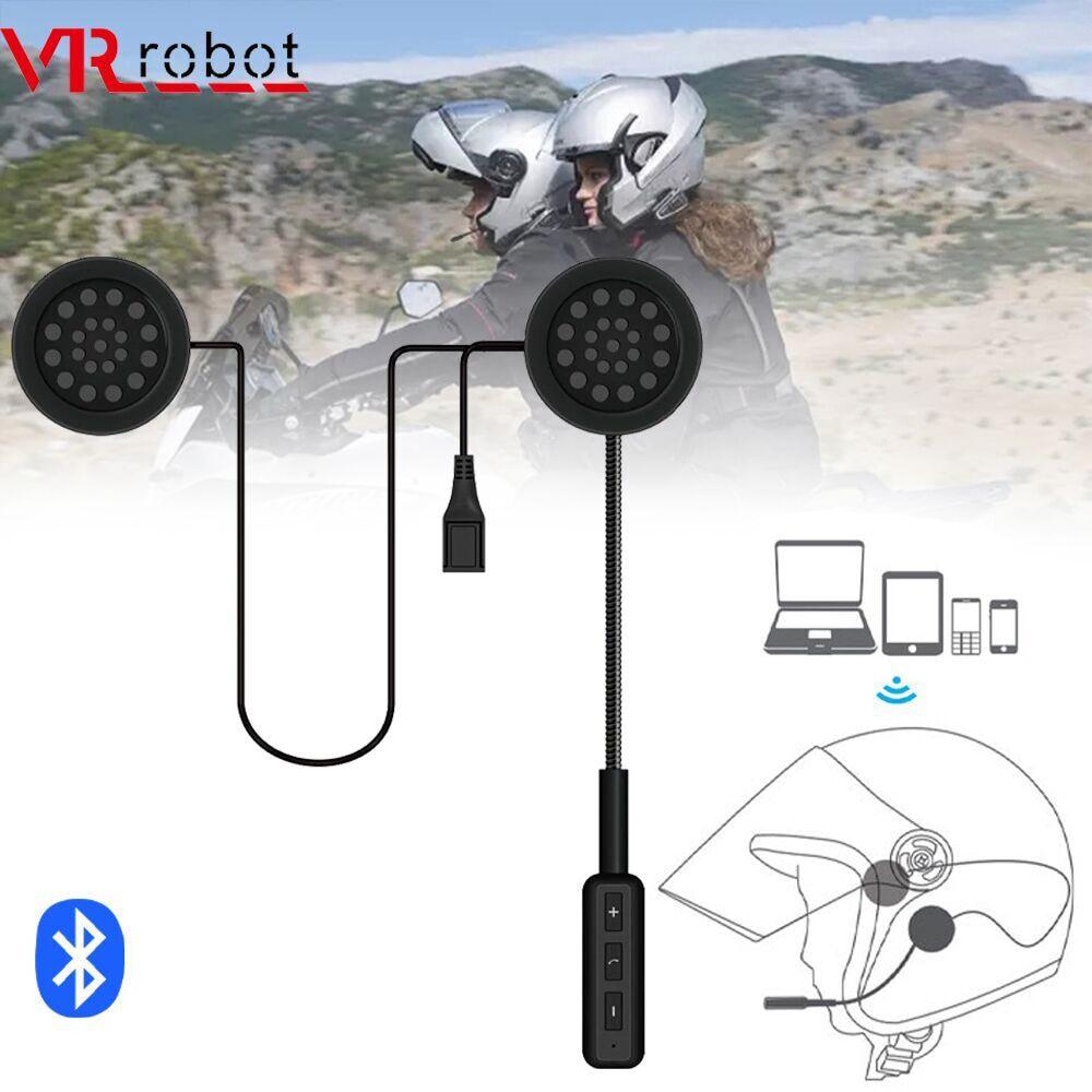 VR robot Motor-سماعة رأس بلوتوث V5.0 ، سماعة رأس استريو لاسلكية للدراجات النارية ، دعم ميكروفون يدوي ، تحكم صوتي