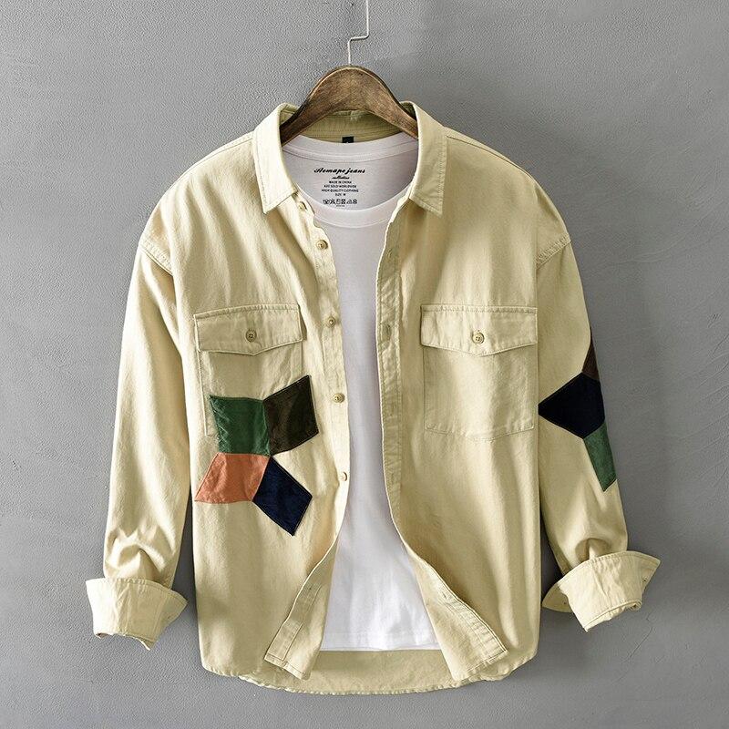 Рубашка мужская с длинным рукавом, модная уличная одежда, дизайнерская Хлопковая сорочка с нашивками, в стиле хип-хоп, Молодежная повседнев...