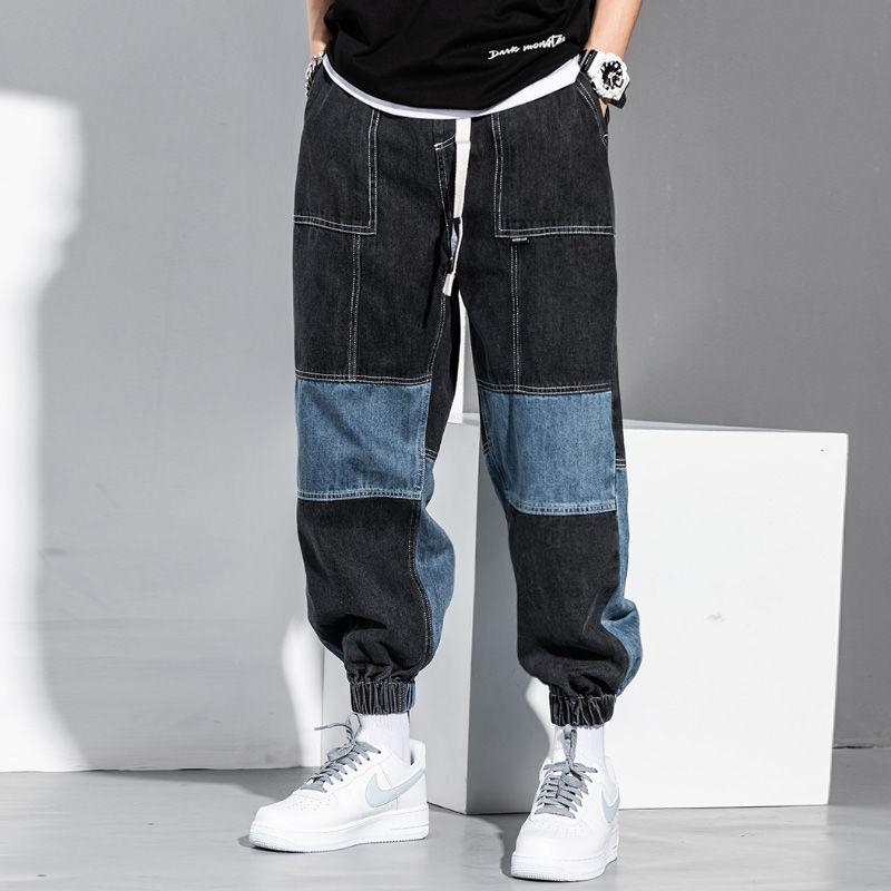 Джинсы мужские в стиле хип-хоп, брюки-карго свободного покроя, штаны-султанки с лентой, мужские черные джинсы в стиле пэчворк, джинсы оверсай...