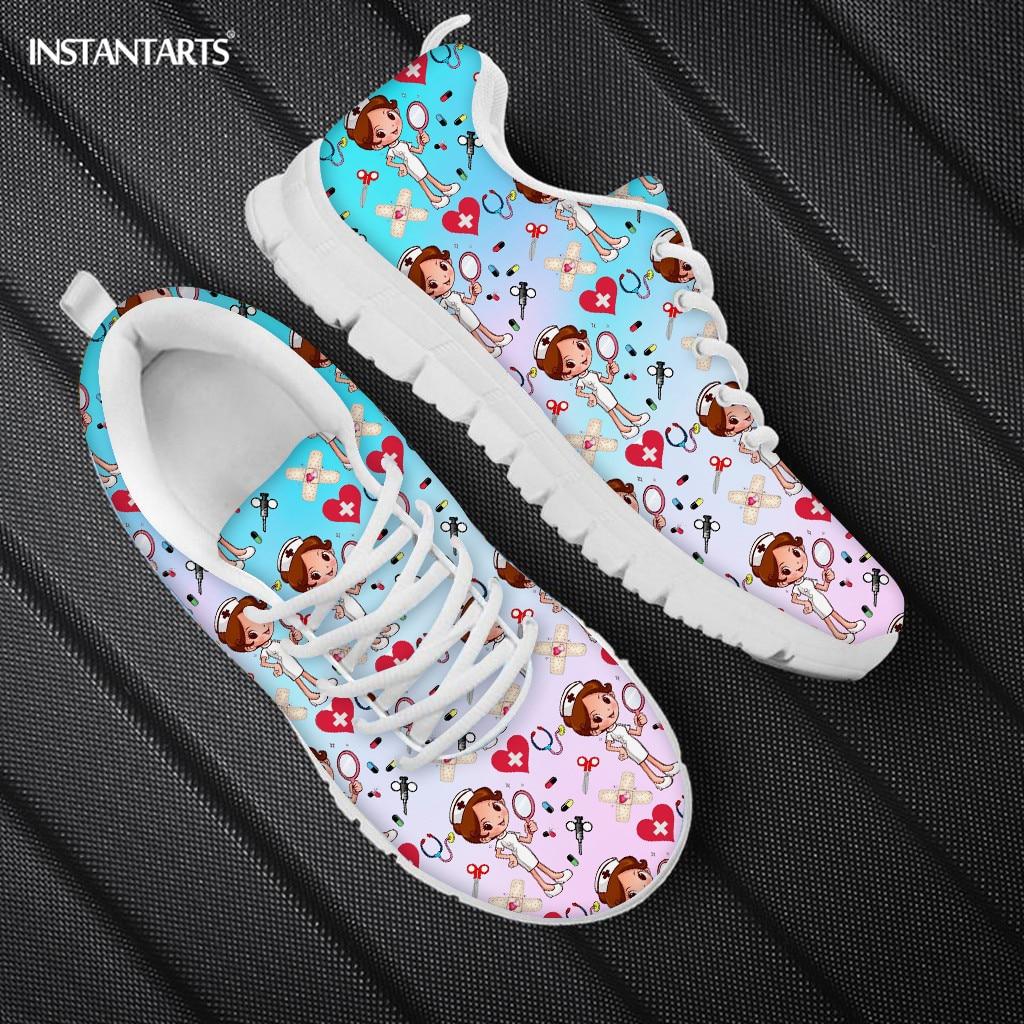 INSTANTARTS-Zapatillas deportivas de enfermería para mujer, calzado con cordones, transpirable, con dibujos...