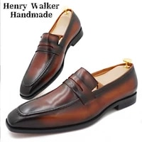 fashion brand men loafers shoes black brown slip on pointed toe men dress shoes business office wedding casual leather shoes men
