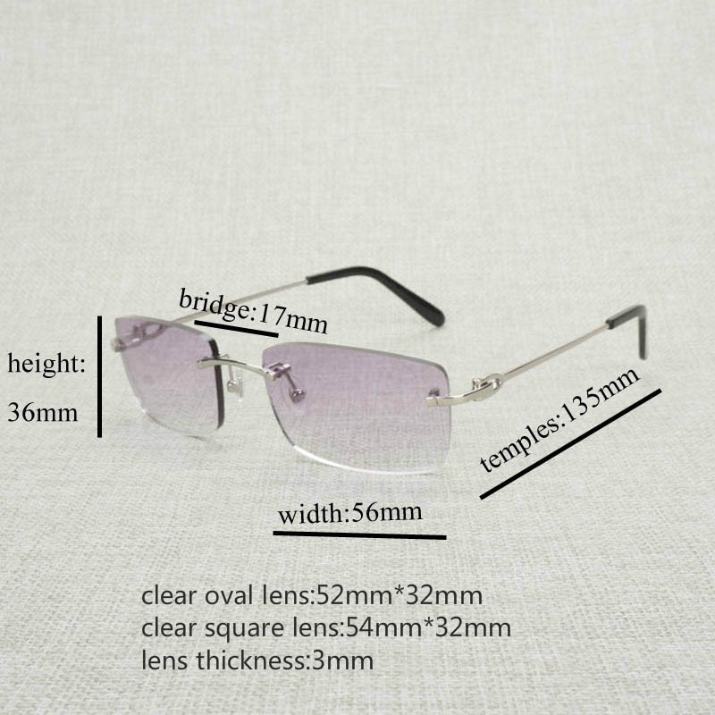 Luxury Rimless Clear Glasses Frame Men Square Eyeglasses For Computer Reading Glasses Oculos Gafas for Beaching Driving 011N