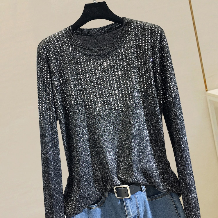 New Autumn Winter Tassel Hot Drilling Knitted Top for Women Loose Pullovers O Neck Long Sleeve Bright Silk Basic Female Sweaters