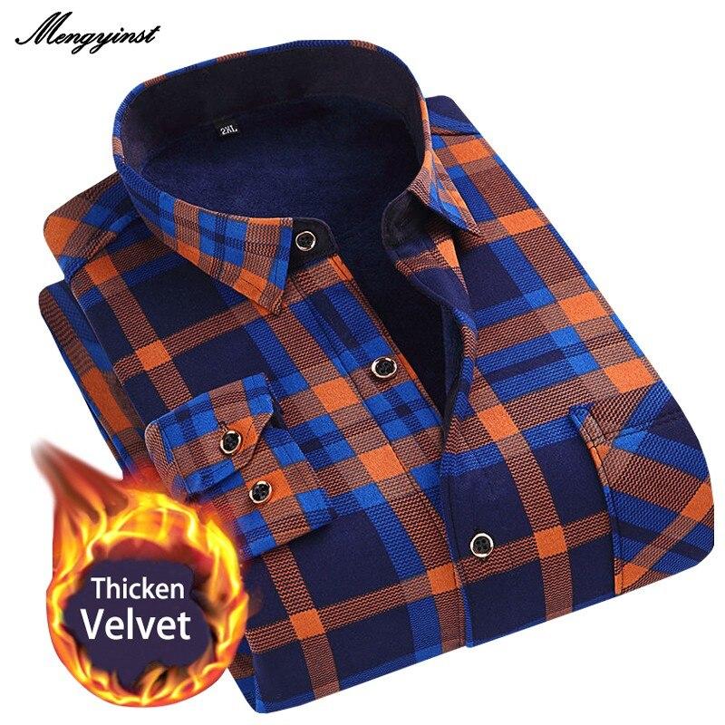 Зимняя мужская модная теплая клетчатая рубашка с длинным рукавом, мягкая фланелевая теплая рубашка на флисовой подкладке в повседневном ст...