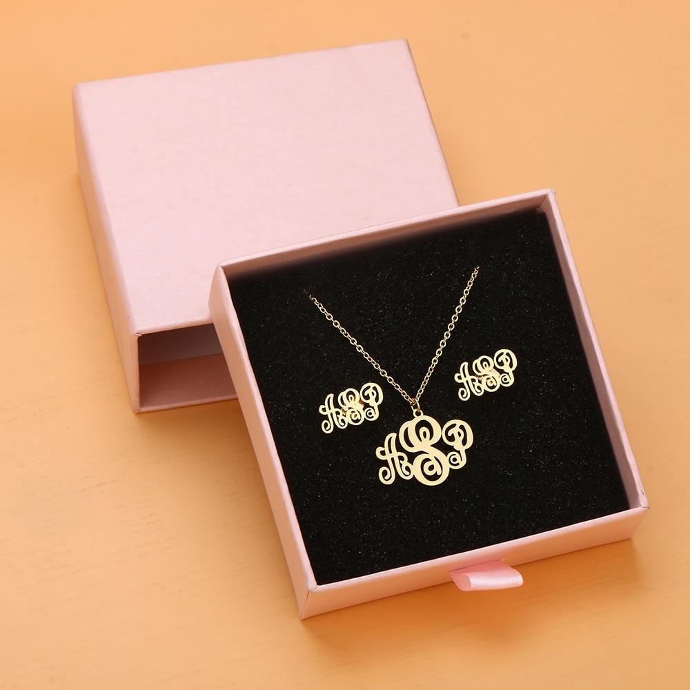 DODOAI مجموعات مجوهرات مخصصة العصرية إلكتروني أقراط الفولاذ المقاوم للصدأ اسم قلادة/أقراط/سوار/حلقة اسم هدية