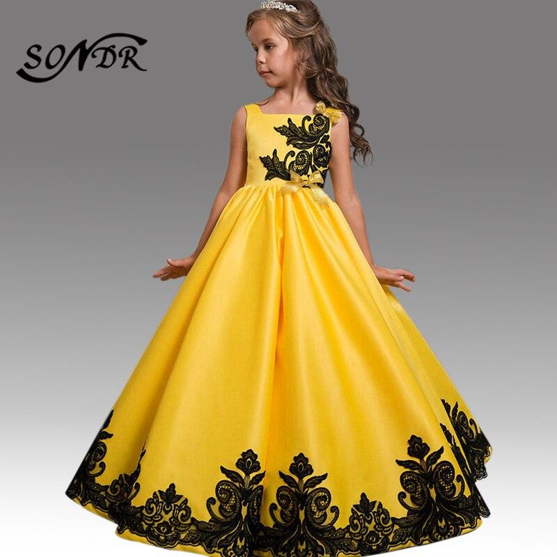 فستان حفلة أصفر سادة بدون أكمام للبنات ، فستان حفلة ، فستان أميرة أنيق مع سحاب ، رقبة قارب ، HT226
