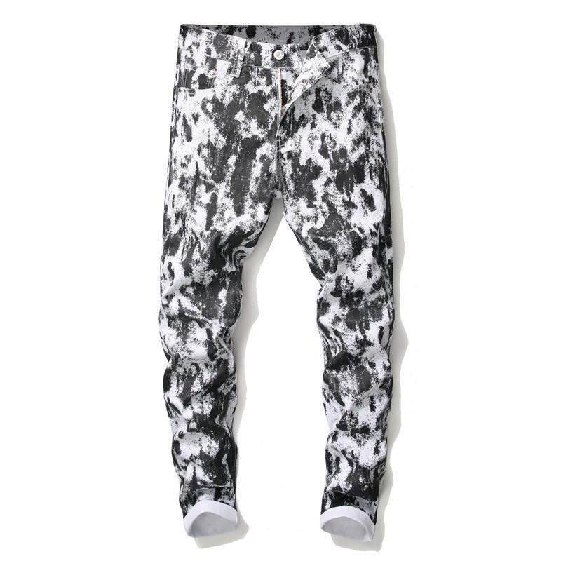Men's Fashion Trend Straight Jeans Slim Casual Trousers Skinny Black Denim Pants