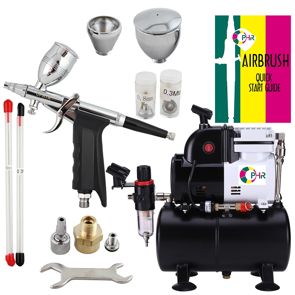OPHIR Professional Spray 0.3mm,0.5mm,0.8mm Airbrush Kit with Airbrushing Compressor Air Tank for Wall Car Paint Model AC116+069
