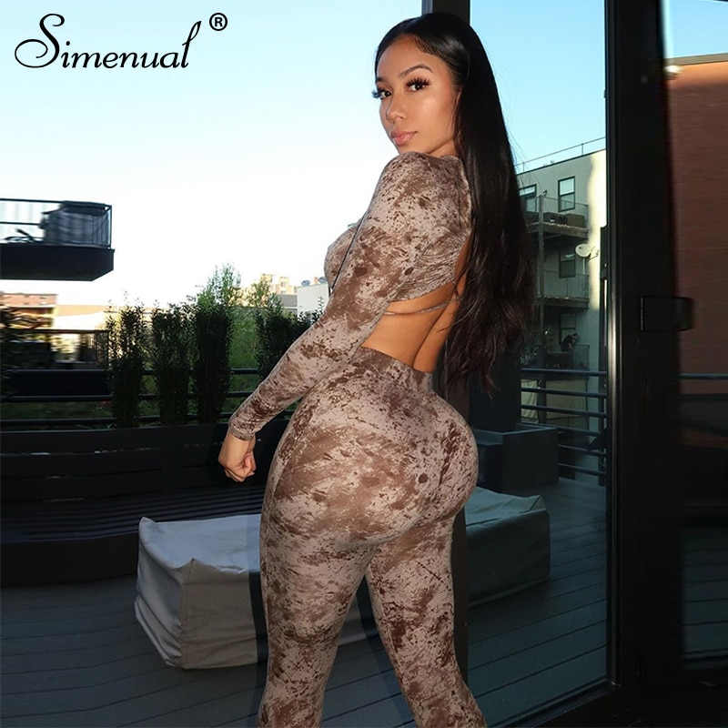 Simenual Tie Dye Backless Criss Cross Matchign Sets Women Fitness Casual Bodycon Two Piece Outfits Club Crop Top And Pants Set simenual knitted ribbed bandage patchwork two piece sets women long sleeve v neck club tie front outfits crop top and pants set