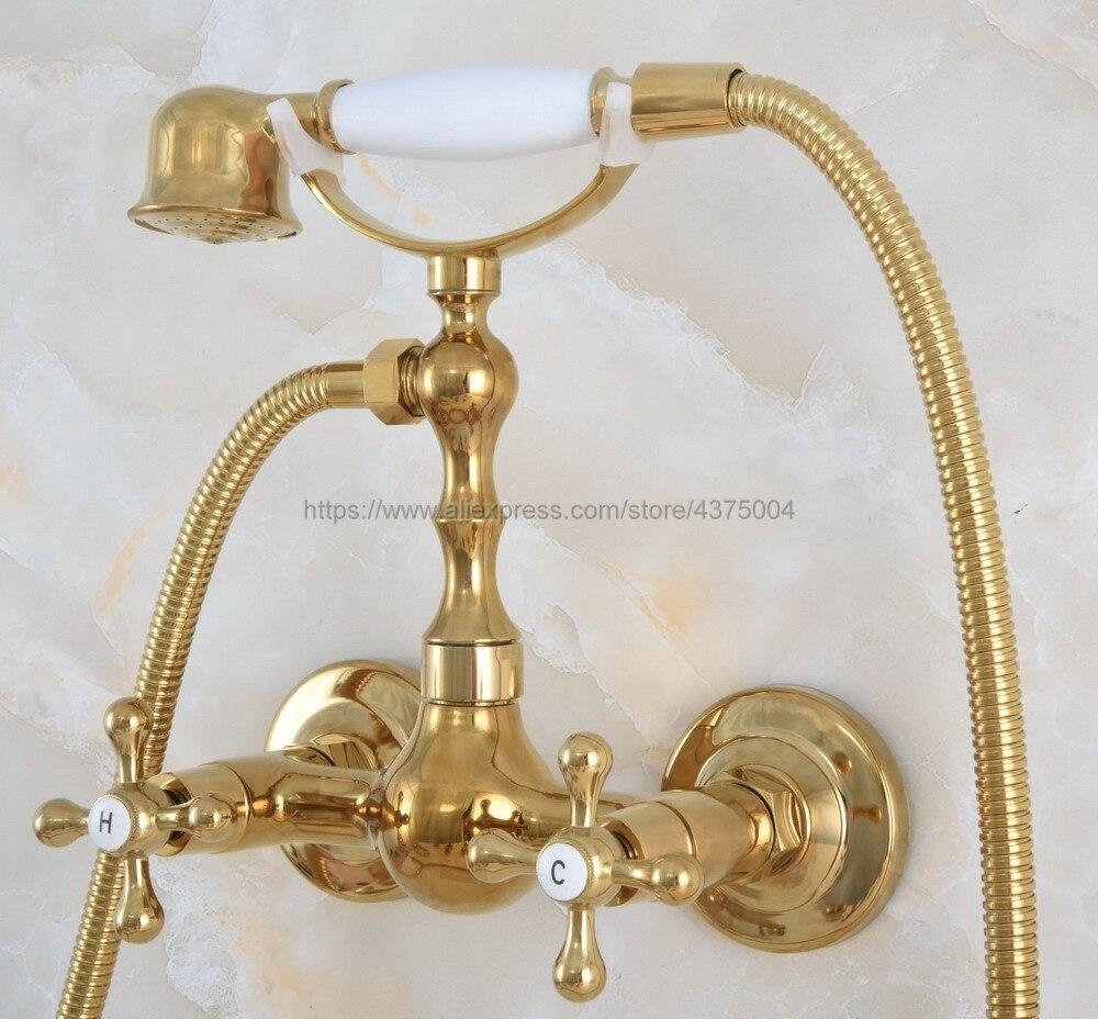 حنفيات حمام نحاسية ذهبية اللون ، مثبتة على الحائط ، مع رأس دش يدوي وحنفية دش Nna831