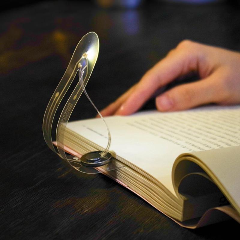 Mini ultra fino conduziu a luz do livro para lâmpadas de leitura dobrável livro luzes buttom bateria marcador led leitura proteção para os olhos luz