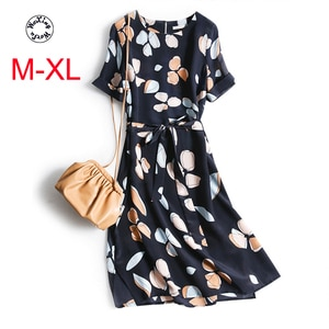 Silk dress female mulberry silk to receive a word  waist show thin temperament of French printing new summer silk dress M to XL