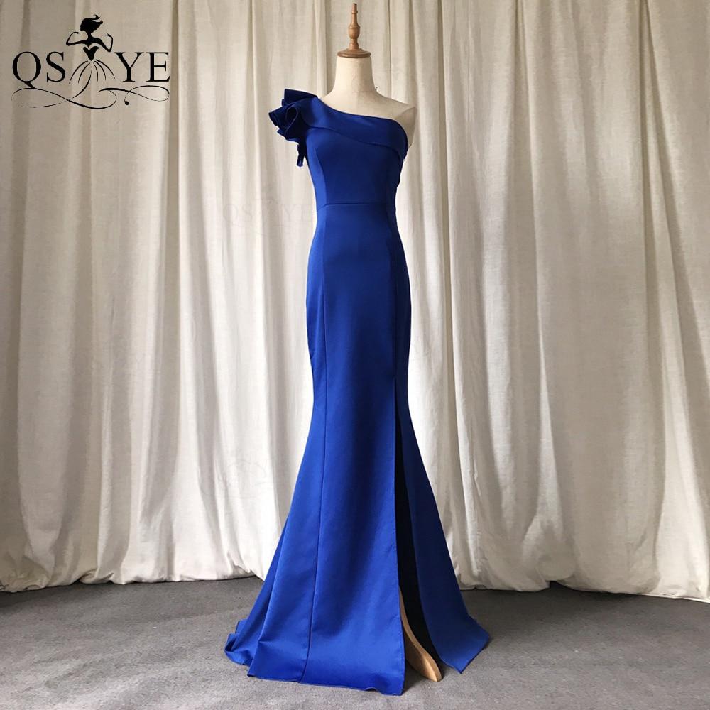 فساتين سهرة ذات لون أزرق ملكي من QSYYE بكتف واحد فستان رسمي بحورية البحر بكتف مكشكش للنساء فساتين حفلات مناسبة