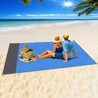 outdoor moistureproof portable pocket beach mat picnic mat polyester waterproof plaid fabric machine washable camping equipment