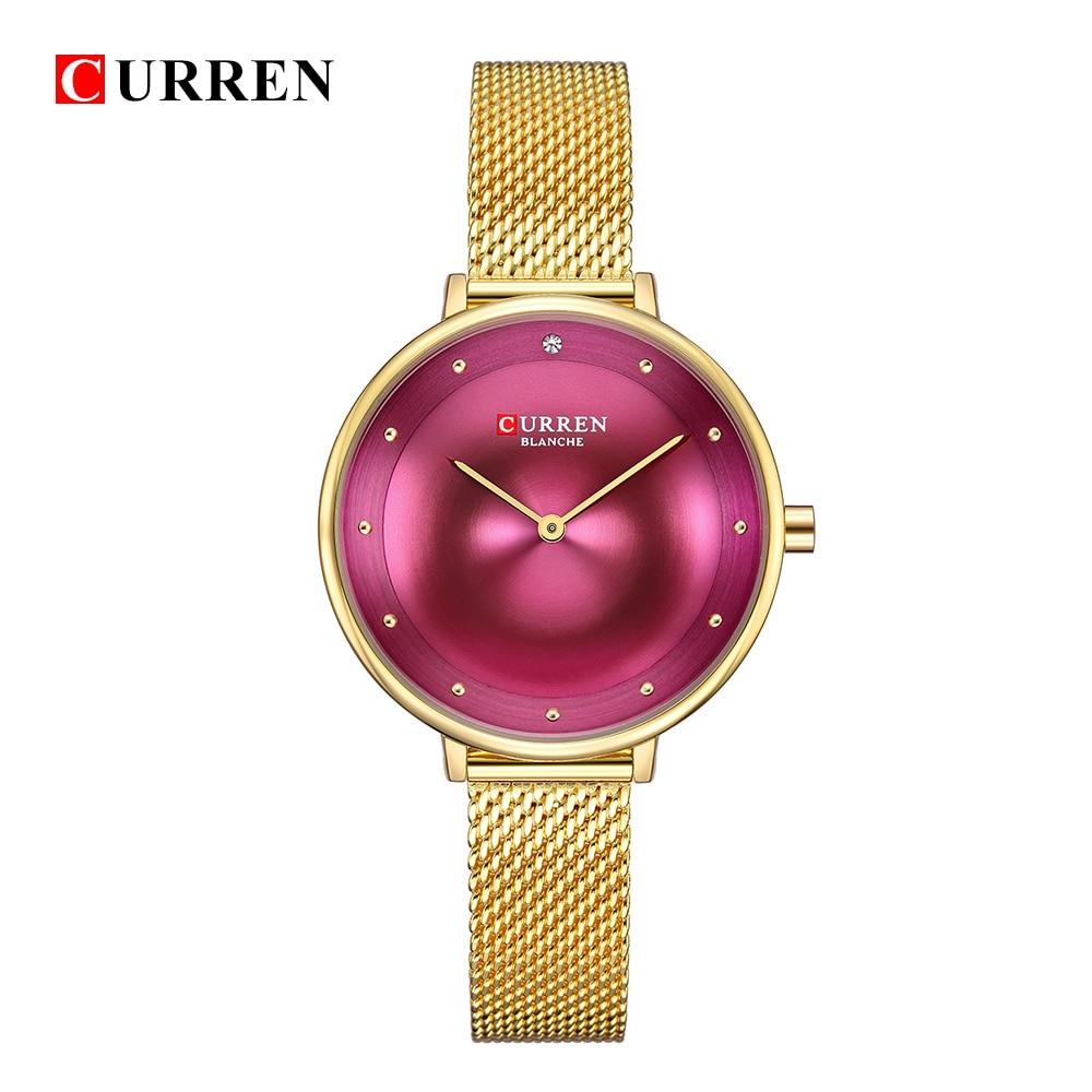 CURREN 9029 أنثى ساعة كوارتز جوهرة الطلب رقيقة جدا شبكة حزام العلامة التجارية العليا الإناث الفاخرة ساعة اليد فتاة ساعة Relogio Feminino