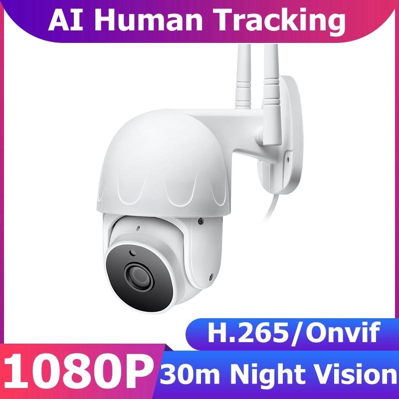 AI Human Tracking 1080P 2MP 360 PTZ Wifi Câmera IP Externa CCTV Segurança Vigilância Câmera sem fio HD Vídeo Suporte para visão noturna Onvif NVR Speed Dome IR Smart Home Monitor de bebê IP66 à prova dágua